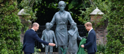 Harry and William at the unveiling of the Princess Diana statue