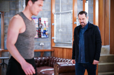 Zack from EastEnders is warned off by Mick Carter
