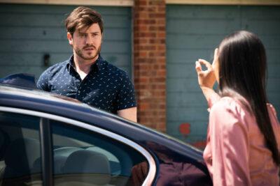 Chelsea in EastEnders finds an earring in Gray's car