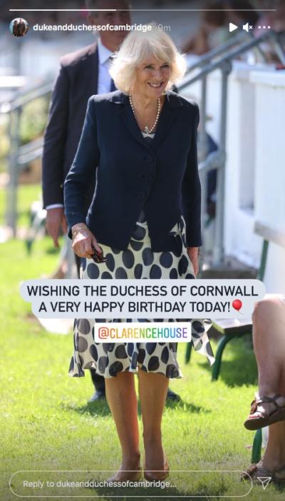 William and Kate wish Camilla happy birthday