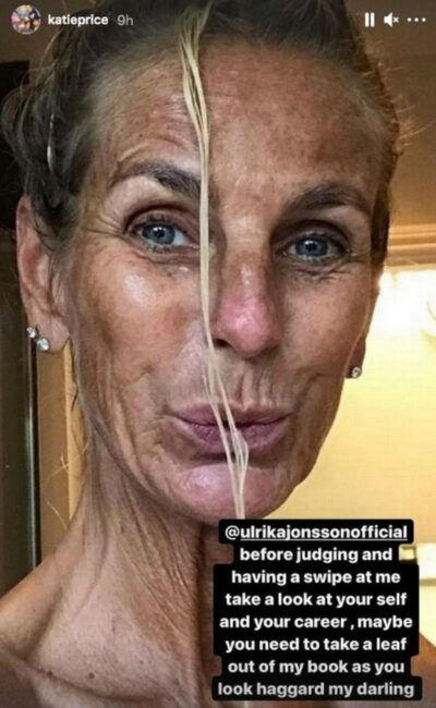 """Katie Price fires back at """"haggard"""" Ulrika Jonsson after being branded 'fame-hungry' over surgery"""