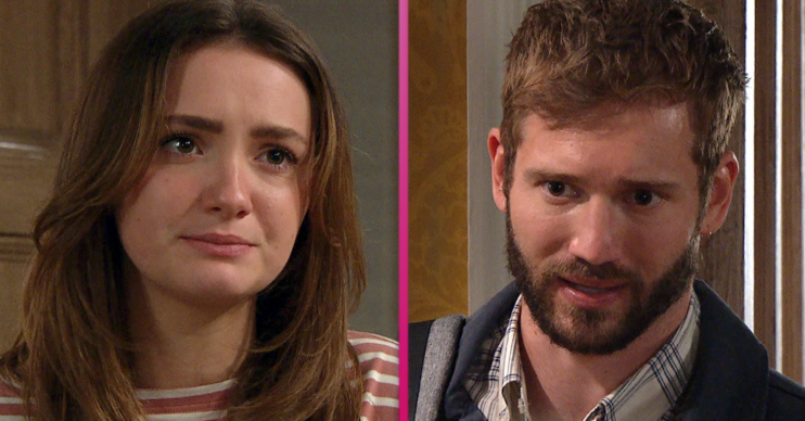 Gabby confronts Jamie after he's set to leave the village in Emmerdale