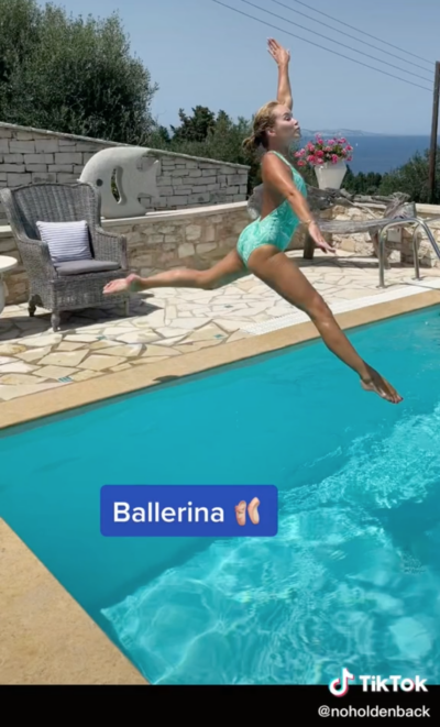 Amanda Holden jumps into her swimming pool in a ballerina style