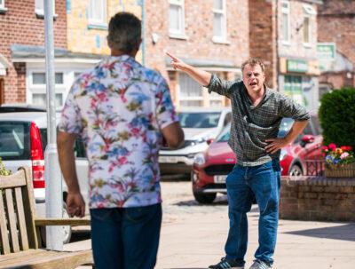 Steve McDonald confronts Dev in Coronation Street