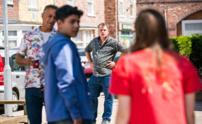 There's a big shouting match between Steve and Dev in Coronation Street