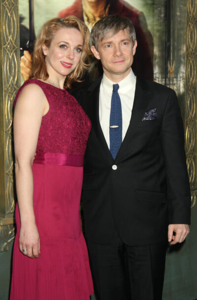 Martin Freeman attends The Hobbit premiere with wife Amanda Abbington