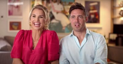 Vogue Williams laughs and Spencer Matthews looks shocked