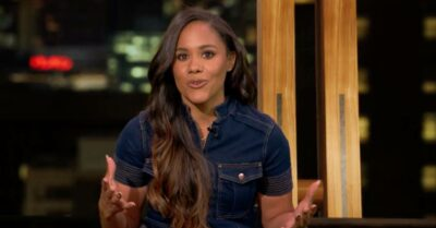 Alex Scott makes her point as she presents BBC Olympics coverage