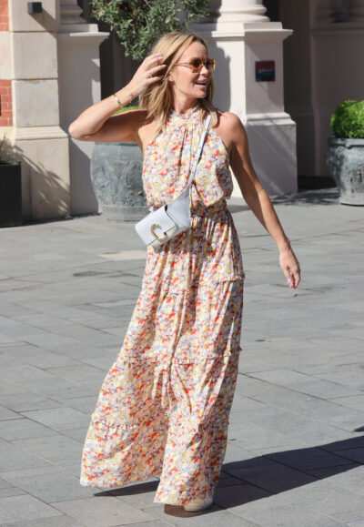 Amanda Holden pictured in London in floral dress