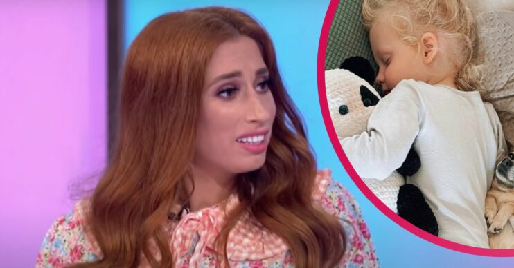 Stacey Solomon comforts son Rex after brothers go to their dads' houses