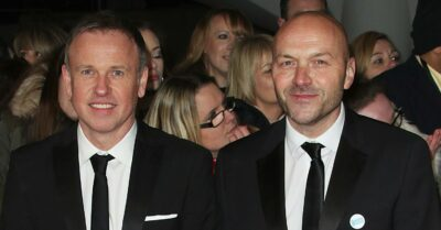 Simon Rimmer and Tim Lovejoy on an awards ceremony red carpet