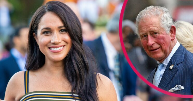 Meghan Markle smiles and inset of Prince Charles