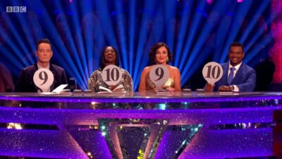 The Strictly Come Dancing judging panel holding up score cards