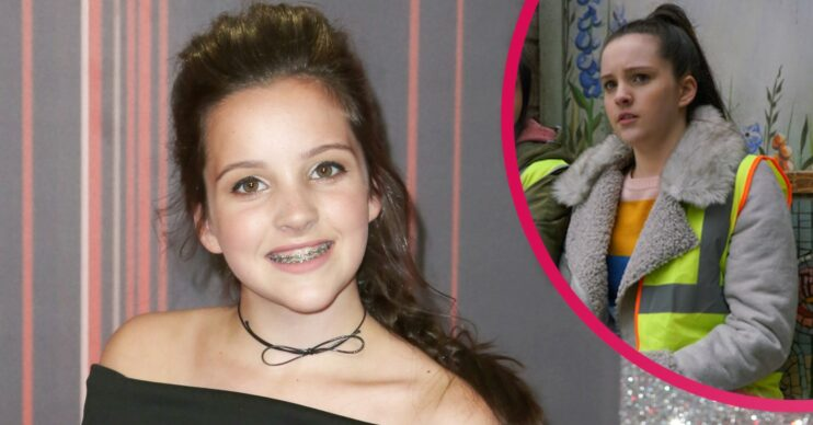 Elle Mulvaney in real life smiling on red carpet with inset of Amy Barlow
