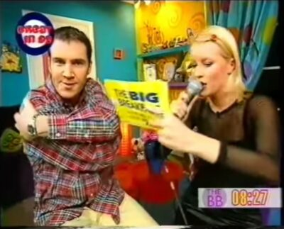Johnny Vaughan and Denise Van outen seen rapping during vintage epoisode of the Big Breakfast