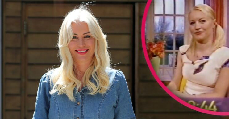 Denise Van Outen with an ionset of her younger self hosting The Big Breakfast
