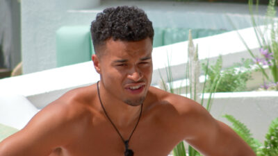 Toby is seen looking confiused on Love Island