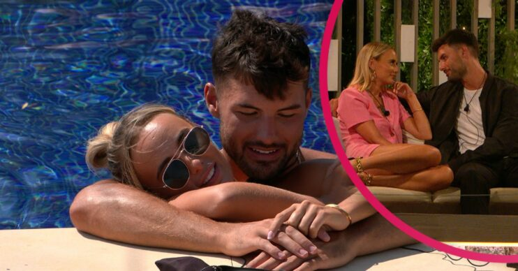 Millie and Liam cuddle in the pool on Love Island discuss their relationship