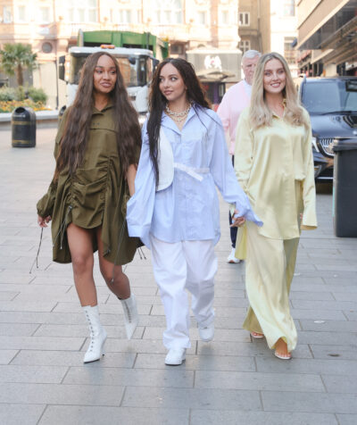 Little Mix members Jade Thirlwall, Perrie Edwards and Leigh-Anne Pinnock dressed in flowing outfits
