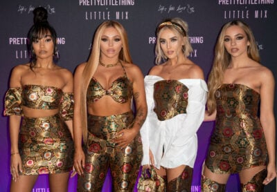 Little Mix as a foursome dressed in gold brocade outfits
