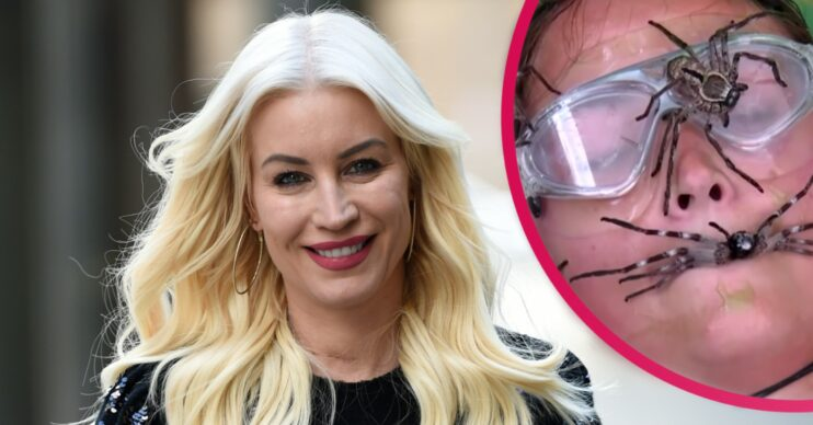 Denise Van Outen smiling wearing red lipstick with an inset of Jac Jossa's face covered in spiders on I'm A Celebrity...