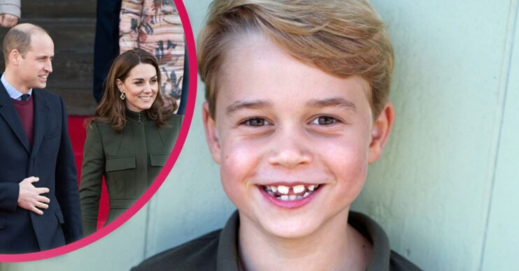 Prince George smiling with inset of his parents Prine william and kate middleton holding hands