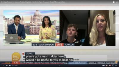 Los presentadores de Good Morning Britain, Ranvir Sing y Sean Fletcher, conversan con la invitada Rebecca Dean y su familia a través de un chat de video en México