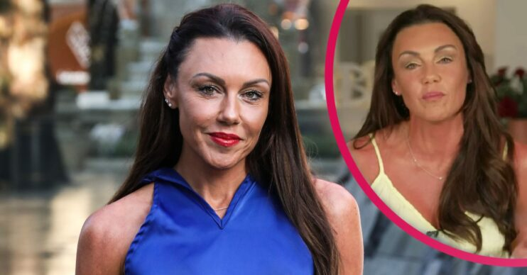Michelle Heaton dressed ina. blue top with red lipstickis now sober after rehab