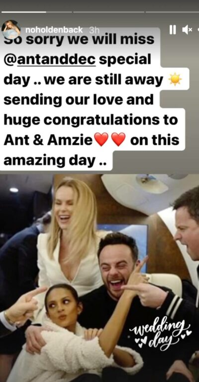 Amanda Holden posts about Ant's wedding