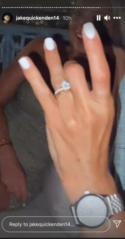 Sophie Church shows off her ring