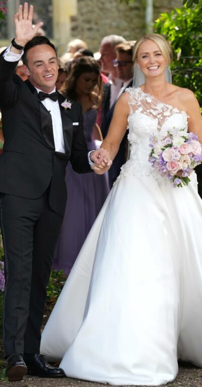 Ant McPartlin waves following his wedding ceremony with Anne-Marie Corbett