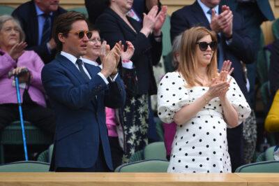 Princess Beatrice and husband Edoardo clap at Wimbledon