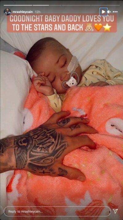 Ashley Cain's birthday tribute to baby Azaylia seen wrapped in an orange unicorn print blanket asleep