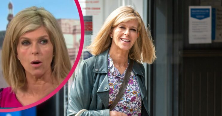 Kate Garraway smiles at the camera in a floral dress and light jacket
