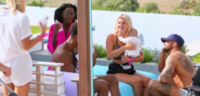 Love Island stars during the baby challenge - Liam sounds just like Bryn