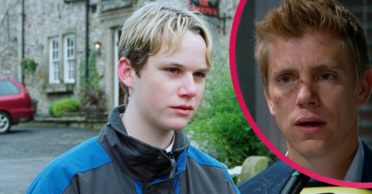Christopher Smith as Robert Sugden with inset of Ryan Hawley as Robert