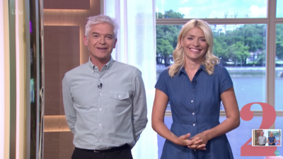 Holly Willoughby and Phillip Schofield laughing as they host This Morning