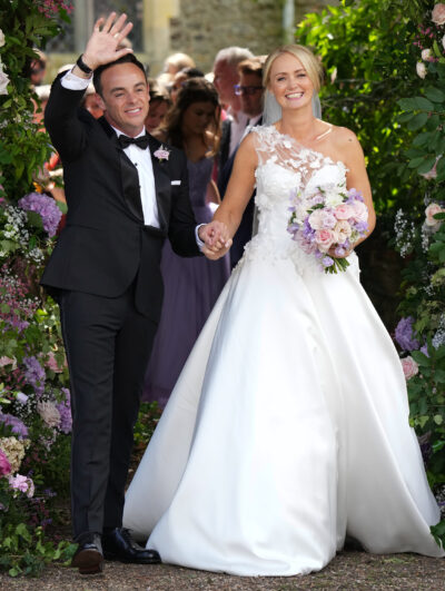 Ant McPartlin gets tattoo in tribute to Anne-Marie Corbett hold hands and wave and smile after getting married