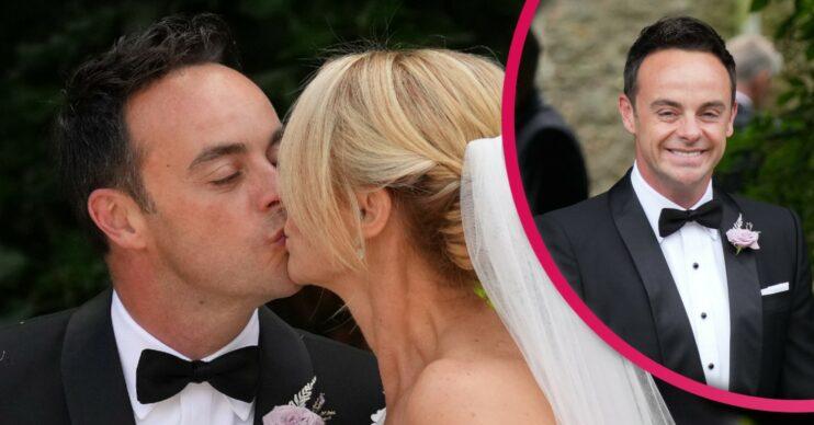 Ant McPartlin and Anne-Marie Corbett kiss on their wedding day