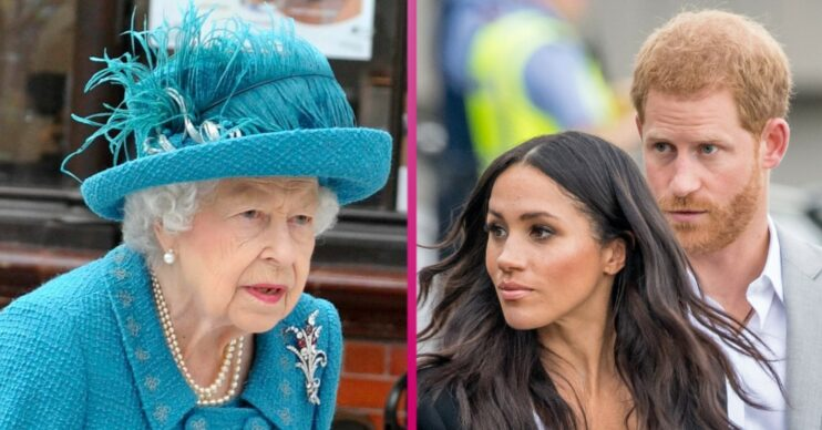 The Queen looks ahead and the Sussexes look in the same direction