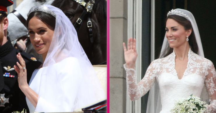 Kate Middleton and Meghan Markle in their wedding dresses