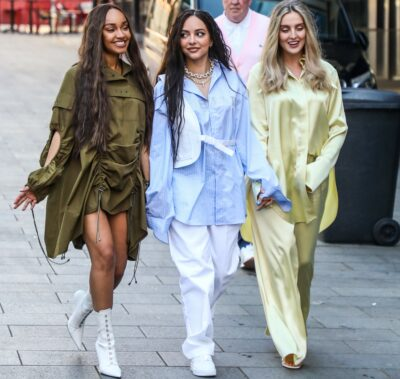 Leigh-Anne Pinnock. Jade Thirwall and Perrie Edwards out and about