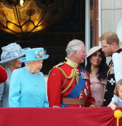 Camilla, the Queen, Prince charles, Meghan Markle and Prince Harry on the Buckingham Palace balcony