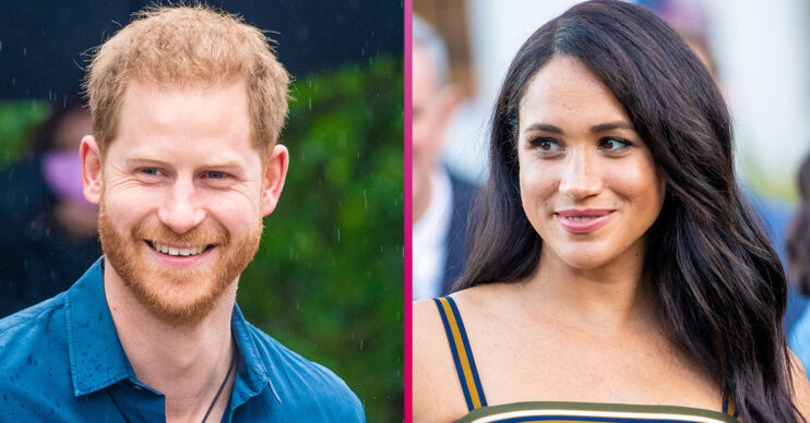 Prince Harry and Meghan smile during royal engagement