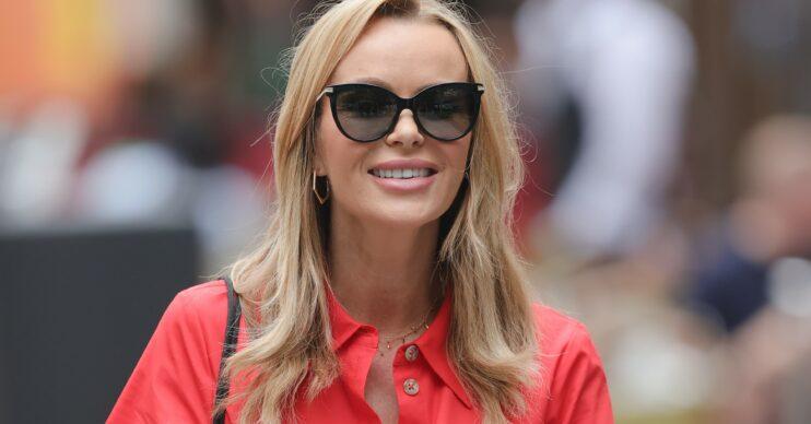Amanda Holden smiles outside Heart FM studios