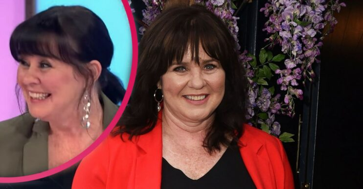 Coleen Nolan in an orange blazer and black top with inset of her laughing on Loose Women