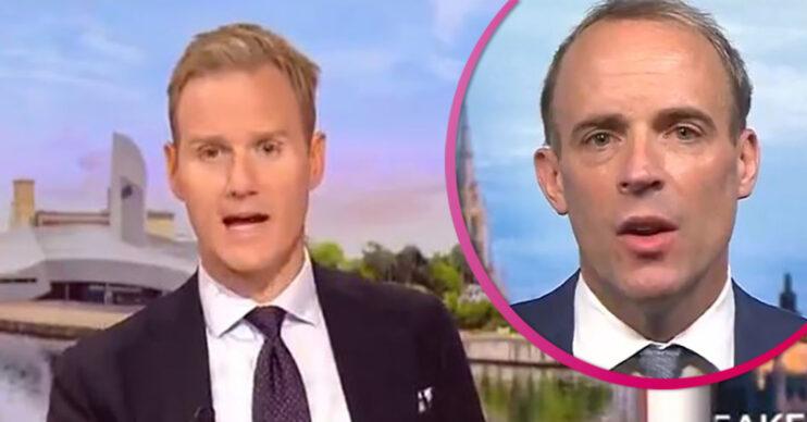 Dan Walker interviews Dominic Raab on BBC Breakfast today