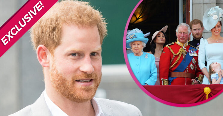 Prince Harry looks at cameras during engagement