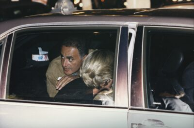 Princess Diana and Dodi Fayed in the back of a car