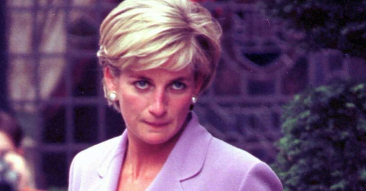 Princess Diana looks at cameras during outing in London